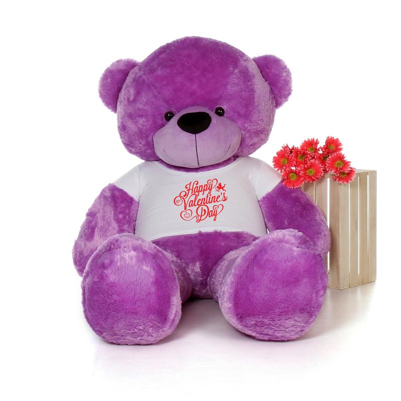 6ft DeeDee Cuddles Purple Huge Teddy Bear in Happy Valentine's Day T-Shirt