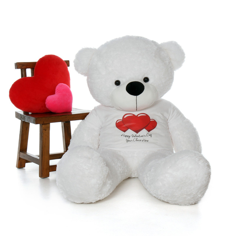 60in Coco Cuddles White Giant Teddy in Happy Valentine's Day Red Heart Shirt