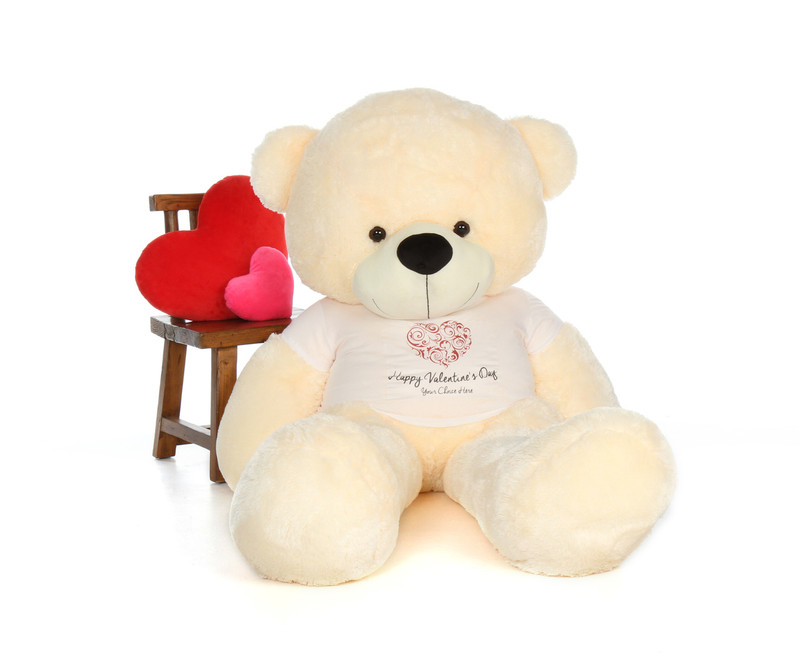 6ft Vanilla Cream Cozy Cuddles Giant Teddy Bear in Swirling Heart Happy Valentine's Day Shirt