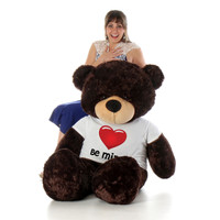 5ft Chocolate Brownie Cuddles Giant Teddy Bear in Be Mine T-Shirt