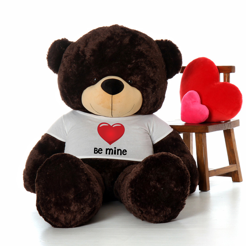 6ft Chocolate Brownie Cuddles by Giant Teddy in Be Mine Valentine's Day T-Shirt
