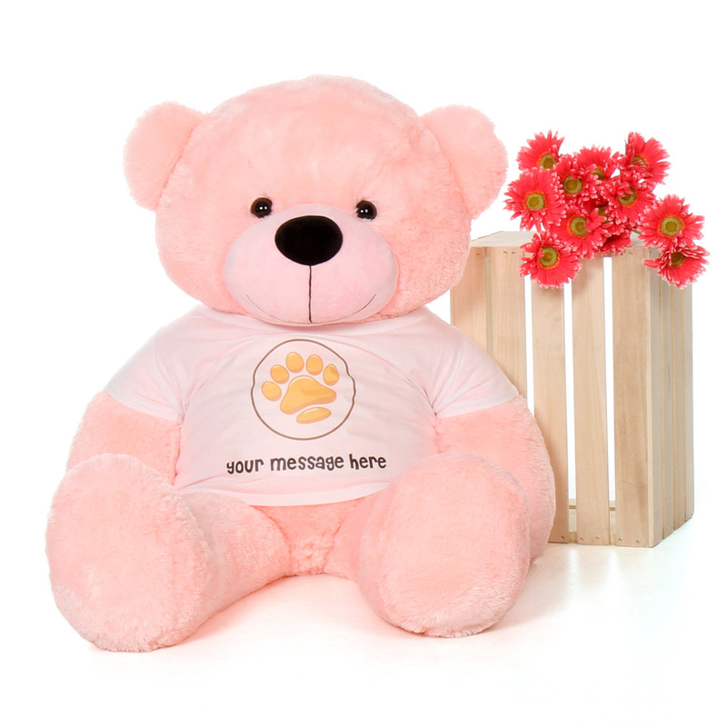 48in Lady Cuddles Pink Giant Teddy Bear in Valentine's Day Paw Stamp T-Shirt