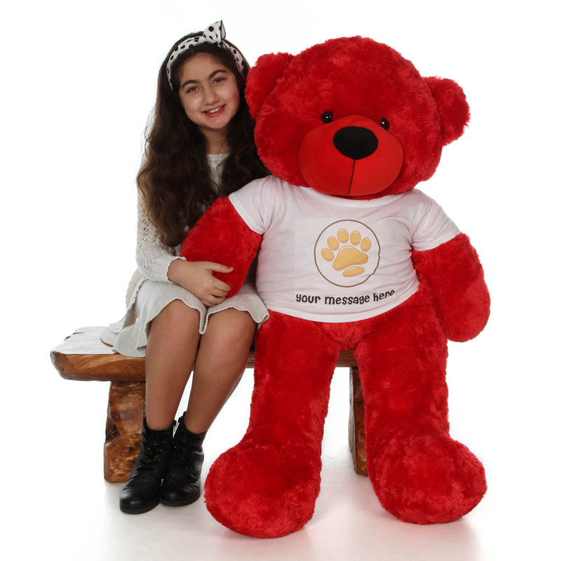 48in Bitsy Cuddles Red Giant Teddy Bear in Valentine's Day Paw Stamp T-Shirt