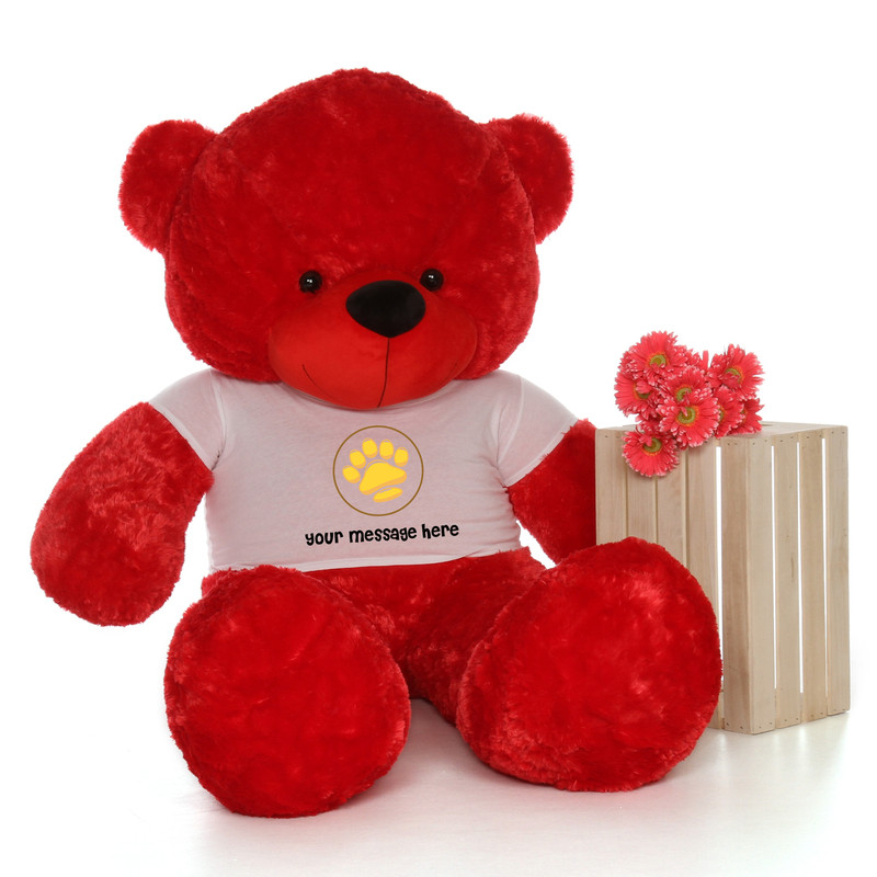 6ft Bitsy Cuddles Red Massive Teddy Bear in Valentine's Day Paw Stamp T-Shirt