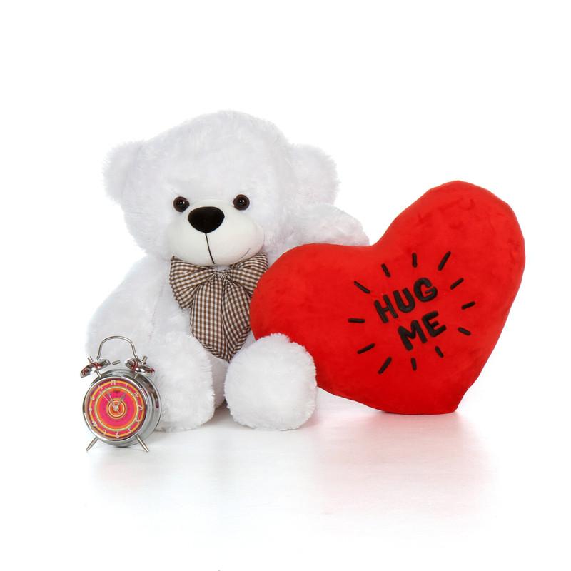 2.5ft Coco Cuddles White Teddy Bear with a Hug Me Heart