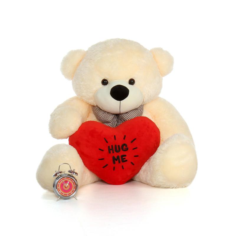 4ft Cozy Cuddles Vanilla Cream Teddy Bear with a Hug Me plush heart