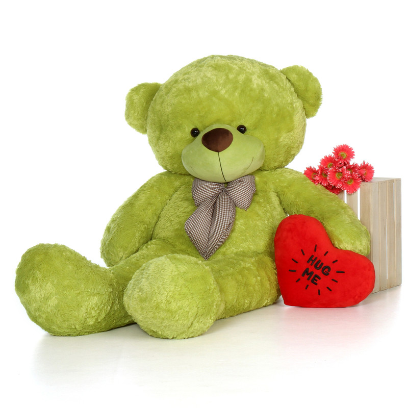 6ft Lime Green Ace Cuddles with a plush heart pillow