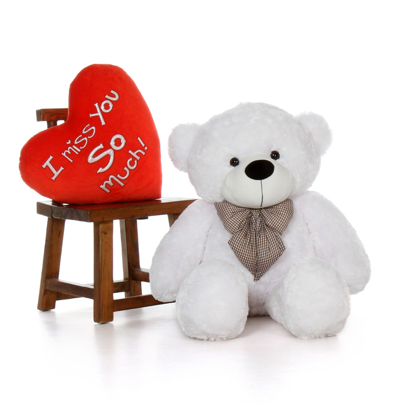 48in White Giant Teddy Bear with XXL I Miss You So Much Heart