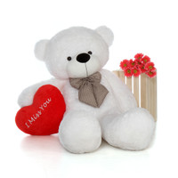 5ft Coco Cuddles White Massive Teddy Bear with I Miss You Heart Pillow