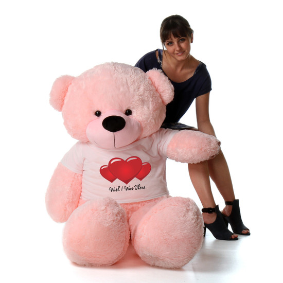 5ft Pink Bear by Giant Teddy Lady Cuddles in Wish I Was There T-Shirt