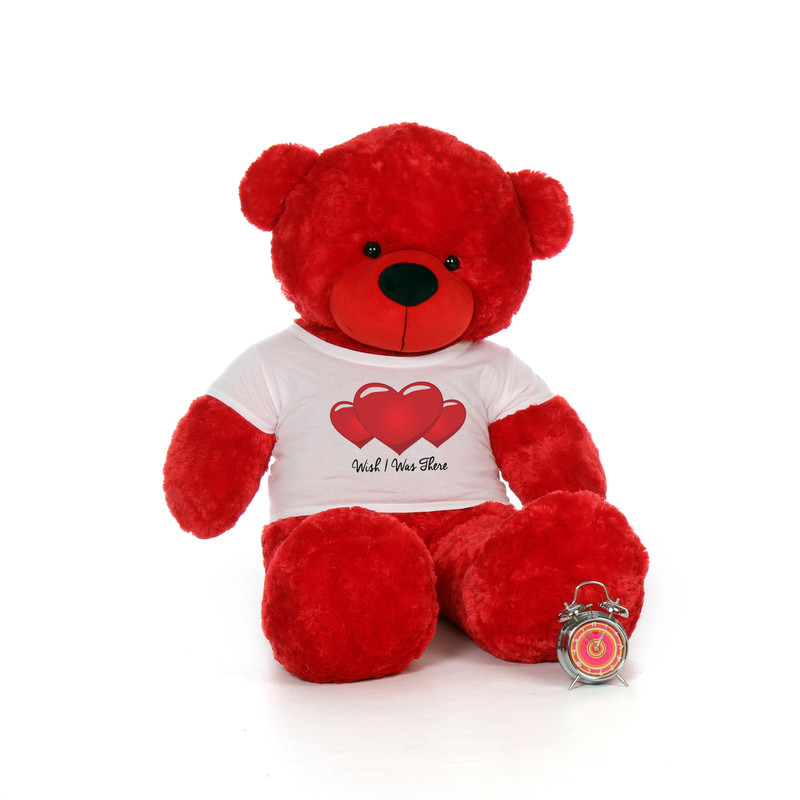 60in Red Bear by Giant Teddy Bitsy Cuddles in Wish I Was There Shirt
