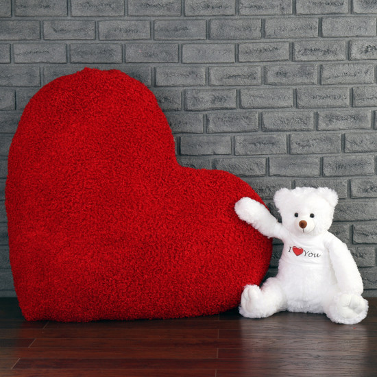 2ft Scruffs Tubs White Teddy Bear with Monster Heart pillow