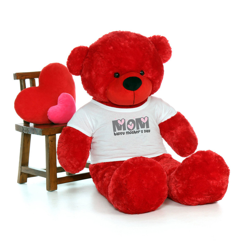 60in Red Bitsy Cuddles Happy Mother's Day Mom Teddy Bear