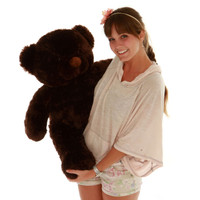 Oversized 30in Teddy Bear super soft dark brown fur Munchkin Chubs