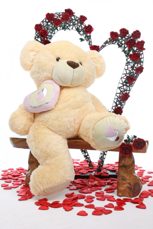 Honey Pie Big Love butterscotch cream teddy bear 42in