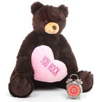 Baby Heart Tubs chocolate brown teddy bear with heart 32in