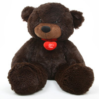 Brownie L Cuddles dark brown teddy bear with necklace 24in