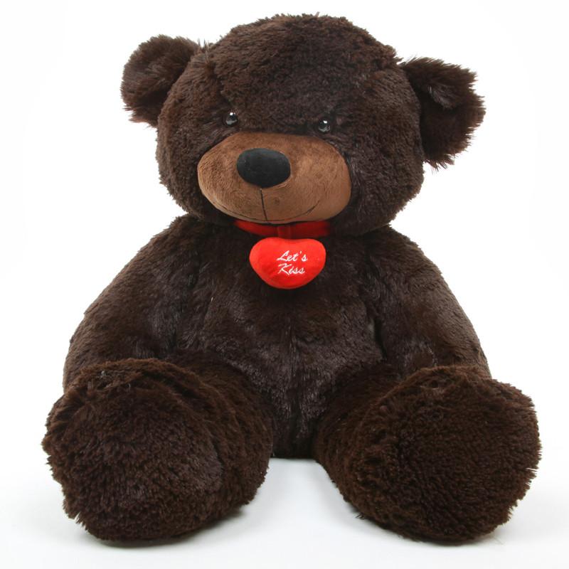 Brownie L Cuddles dark brown teddy bear with necklace 24in