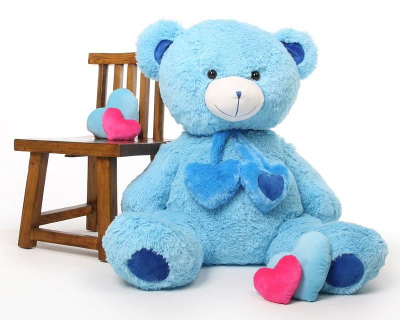 Shorty Hugs blue teddy bear 45in