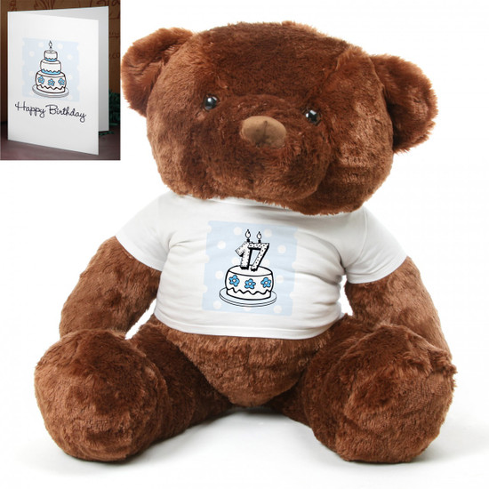 Blue Birthday Cake Chubs teddy bear 48in