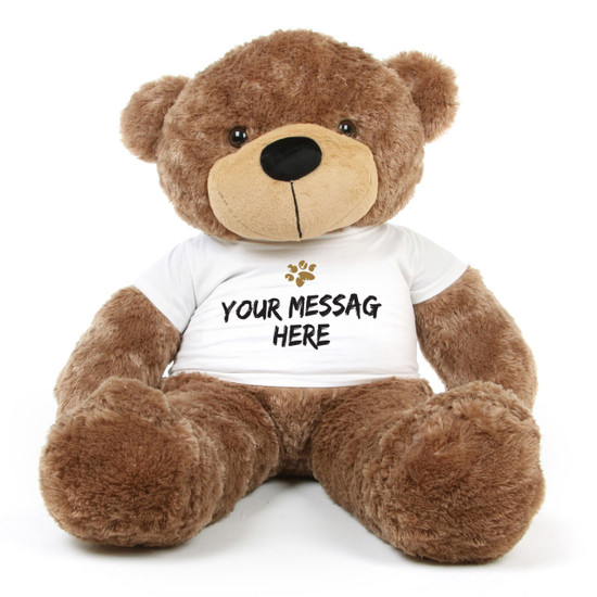 Big Mocha Brown Sunny Cuddles 48 Inch Personalized Teddy