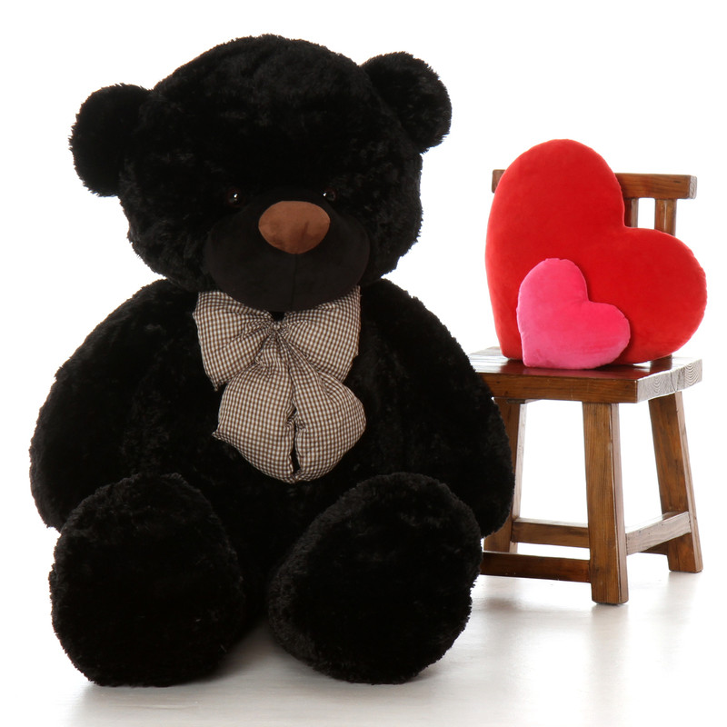 Juju Cuddles life size 5ft (60in) black teddy bear  fur so soft and snuggly