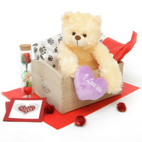 Heart Conqueror Bear Hug Care Package Tiny Heart Tubs cream teddy bear 18in Greeting card pictured is no longer available but will be replaced with one that is comparable.