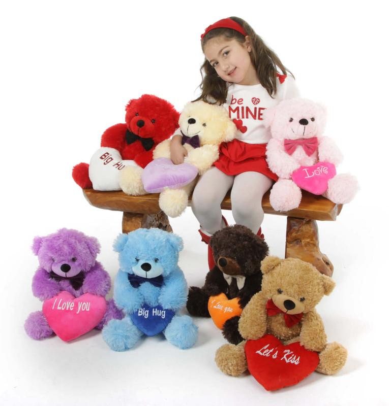 He Loves Me Bear Hug Care Package Brownie Cuddles chocolate brown teddy bear 18in