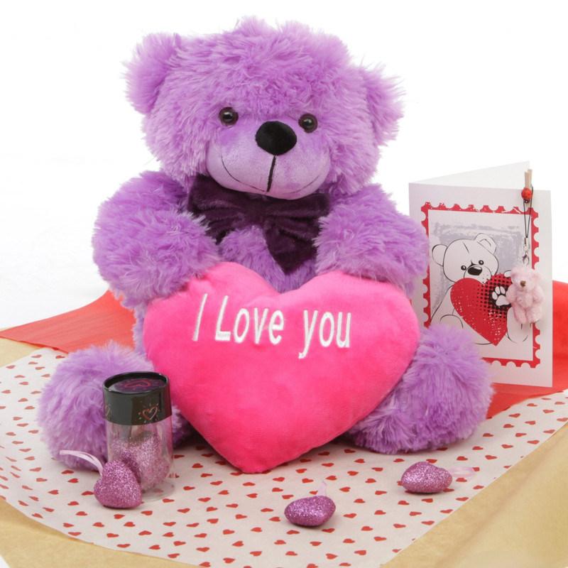 True Love Bear Hug Care Package DeeDee Cuddles purple teddy bear 18in