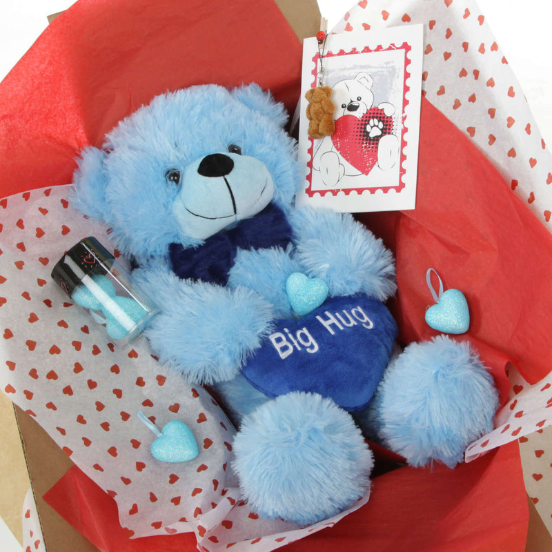 He Loves Me Bear Hug Care Package Happy Cuddles blue teddy bear 18in Accessories pictured are not included in this package.