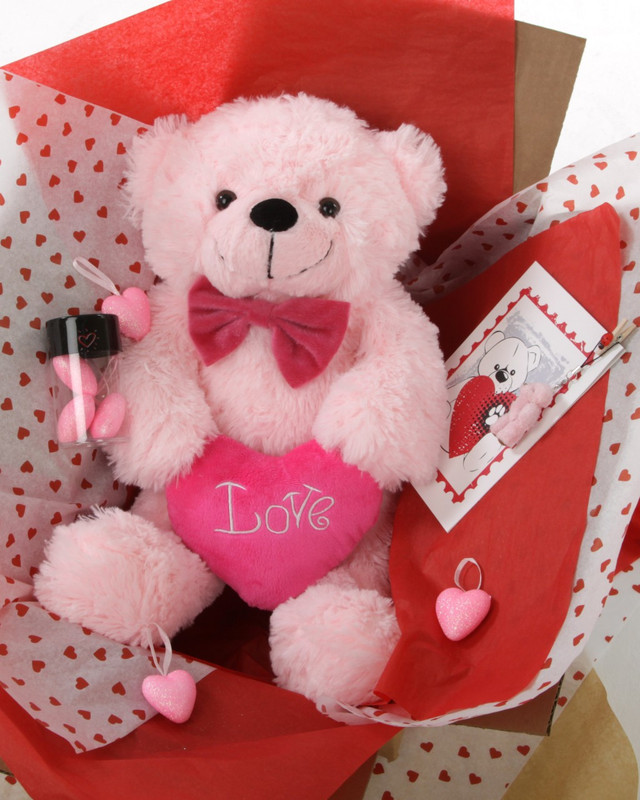 Miniature teddy bear pictured is no longer included in this package.