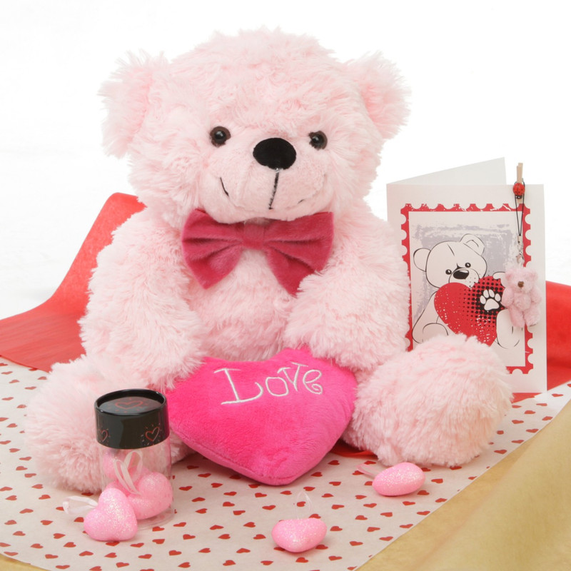 True Love Bear Hug Care Package Lady Cuddles pink teddy bear 18in Miniature teddy bear pictured is no longer included in this package.
