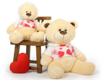 BooBoo Kisses Shags cream teddy bear with love hooded sweater 35in