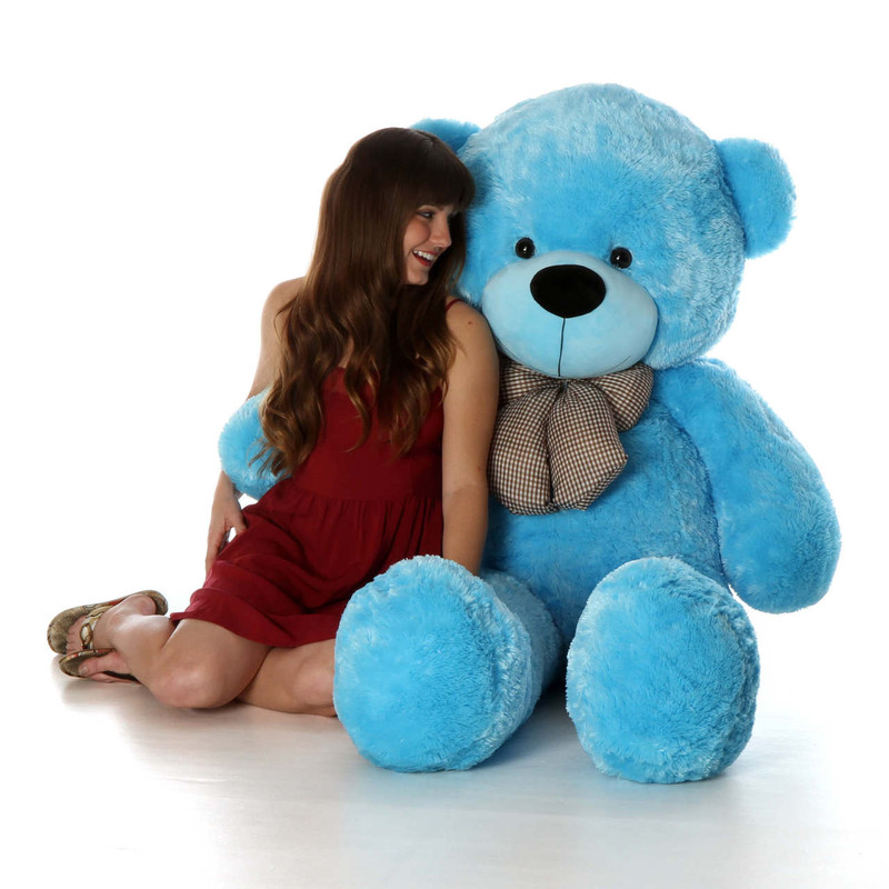 Life Size best Blue adorable Teddy Bear Happy Cuddles 60in