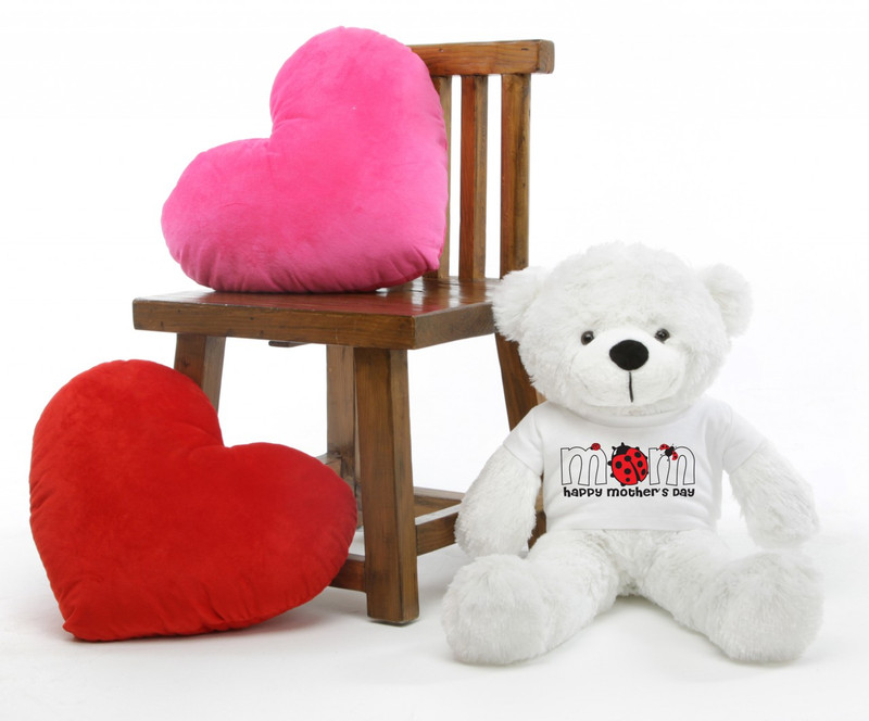 Coco M Cuddles White Mothers Day Teddy Bear Gift 30in
