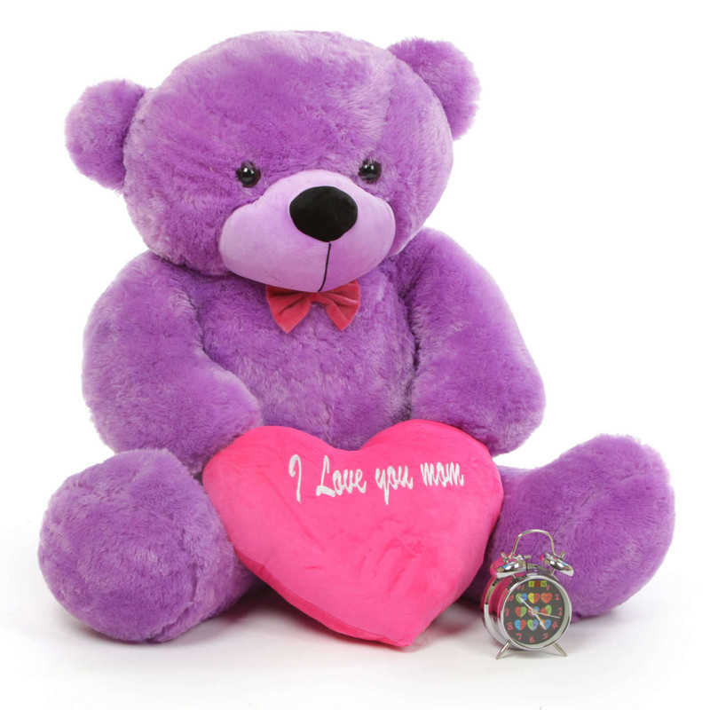 DeeDee M Cuddles Purple Teddy Bear with I Love You Mom Heart 48in
