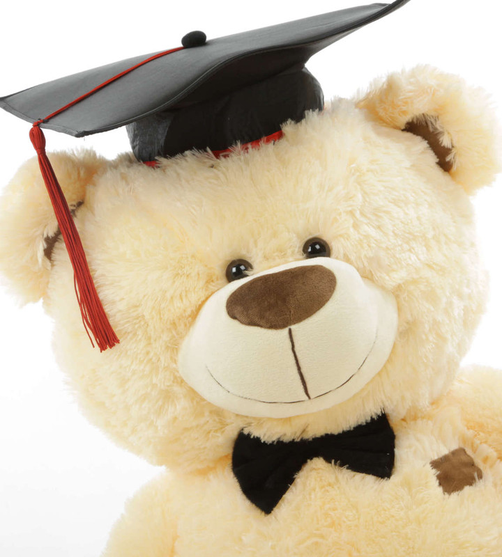 BooBoo G Shags Vanilla Graduation Teddy Bear with Cap and Diploma 35in