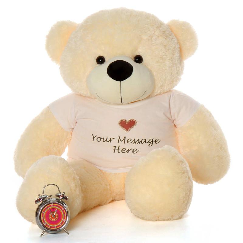 Life Size 4ft Personalized Graduation Teddy Bear Vanilla Cozy Cuddles