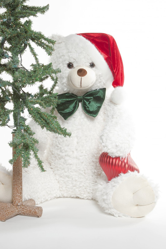 The Color of Christmas is White! Jingles Woolly Tubs, 32 inch White Christmas Teddy Bear with Santa Hat