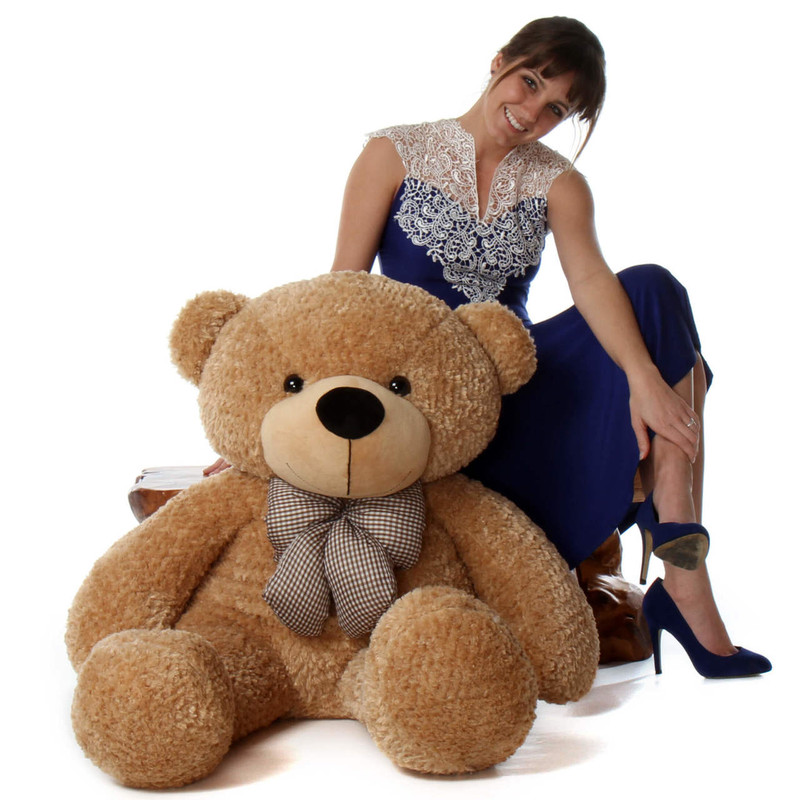 4ft Life Size Amber Huggable Brown Teddy Bear Shaggy Cuddles