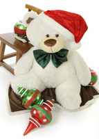 "Wishing you a White Teddy Bear Christmas! 45"" Frosty Fluffy Shags bear with Santa hat and bow tie."