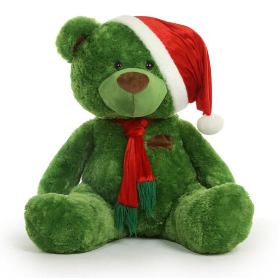 A 45 Inch Christmas Teddy Bear In A Scarf Amp Santa Hat