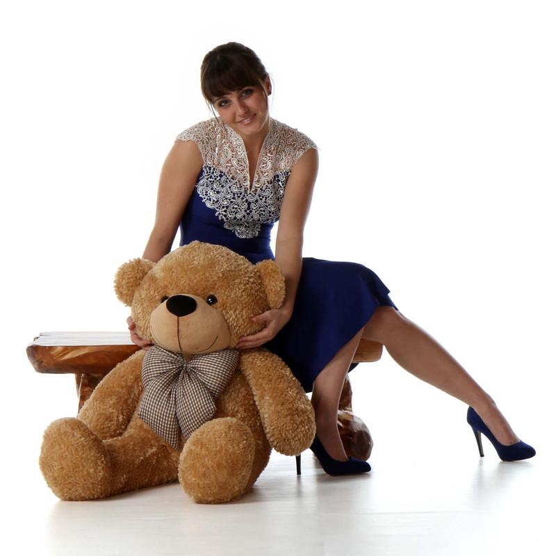 3ft Life Size Teddy Bear Shaggy Cuddles soft amber brown fur