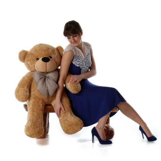 Huge Amber Brown Teddy Bear Shaggy Cuddles 38in