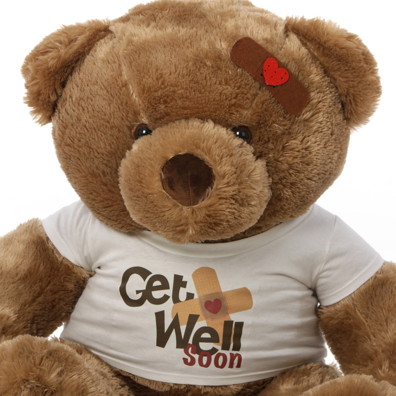 38in Buttercup Chubs Get Well Soon Teddy Bear (Close Up)