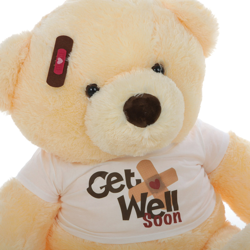 38in Smiley Chubs Get Well Soon Teddy Bear (Close Up)