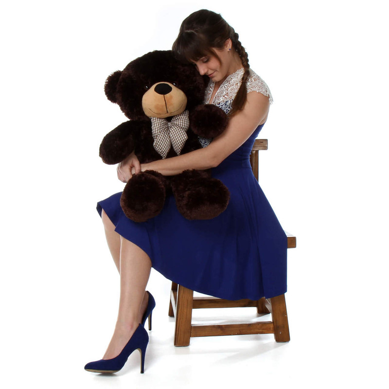 2.5ft Giant Teddy bear Brownie Cuddles with soft and snuggly chocolate brown fur