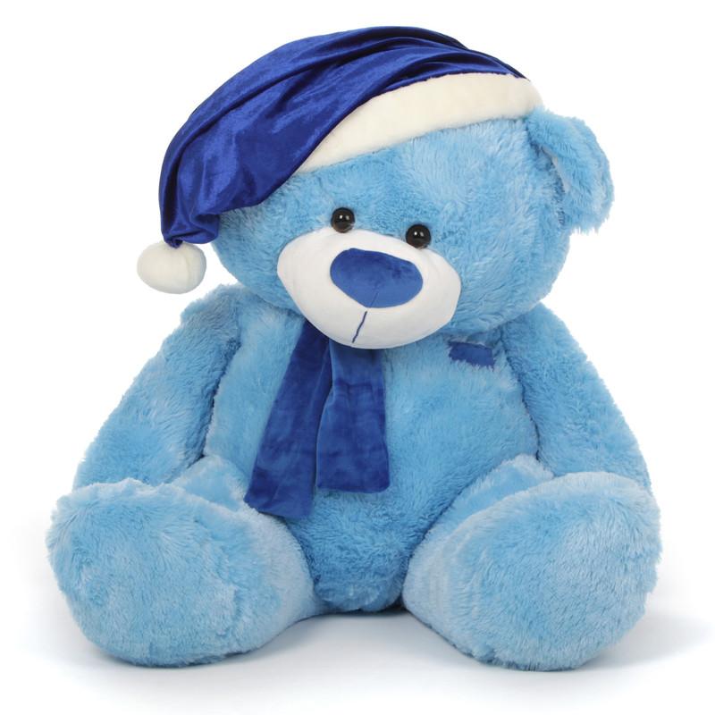 Teddy Bear with Blue Santa Hat