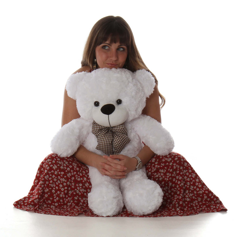 Huggable and lovable Oversized White Teddy Bear Coco Cuddles 30in