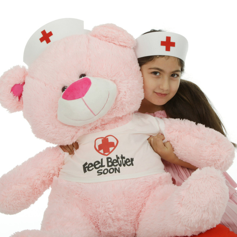 35in Nurse Lulu Shags, Pink teddy bear
